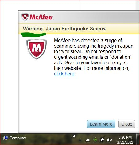 Mcafee-warning