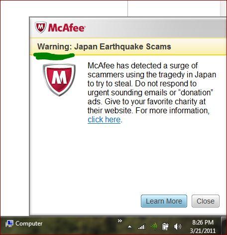 Mcafee-warning
