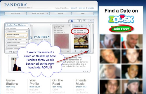 Pandora-shows-zoosk-ad-upon-cl